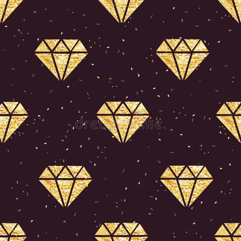 Modello senza cuciture di vettore dei diamanti dorati brillanti della stagnola royalty illustrazione gratis