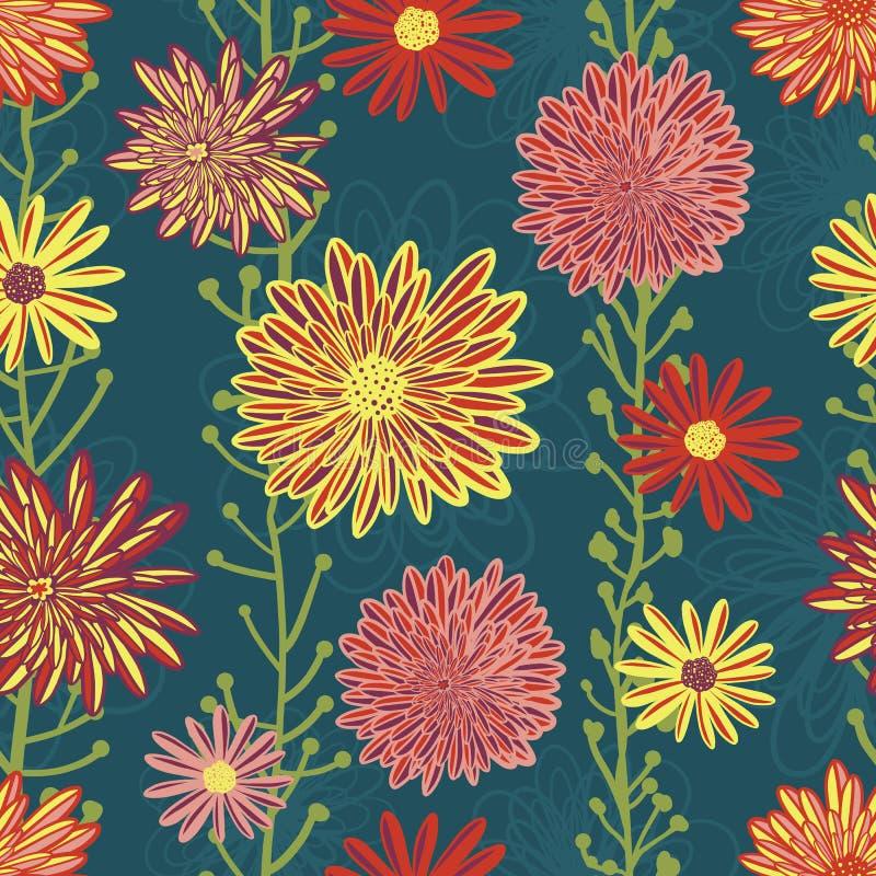 Modello senza cuciture di vettore dei fiori dell'aster e della margherita Fiori gialli porpora di rossi carmini luminosi su fondo illustrazione di stock