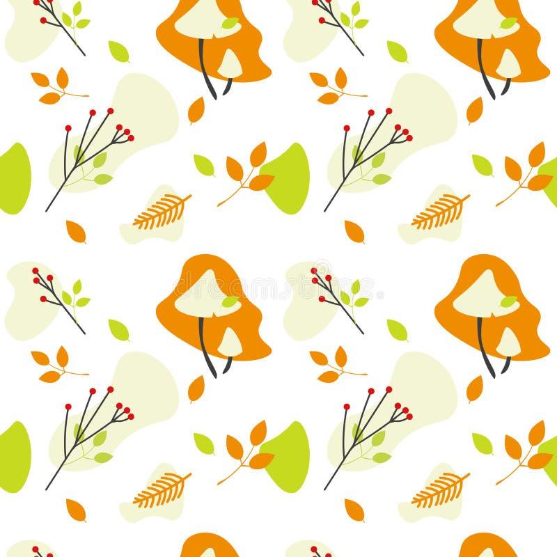 Modello senza cuciture di vettore dei funghi, delle foglie e delle bacche della foresta di autunno illustrazione vettoriale