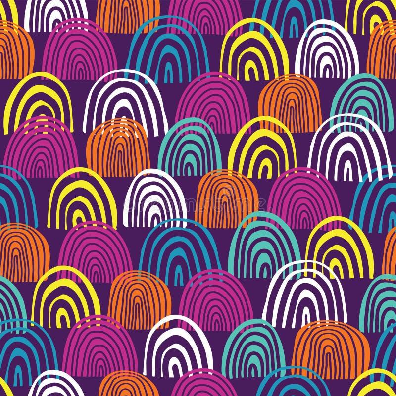 Modello senza cuciture di vettore dei semicerchi disegnati a mano Teal, blu, rosa, bianchi e forme arancio dell'arcobaleno su fon illustrazione di stock