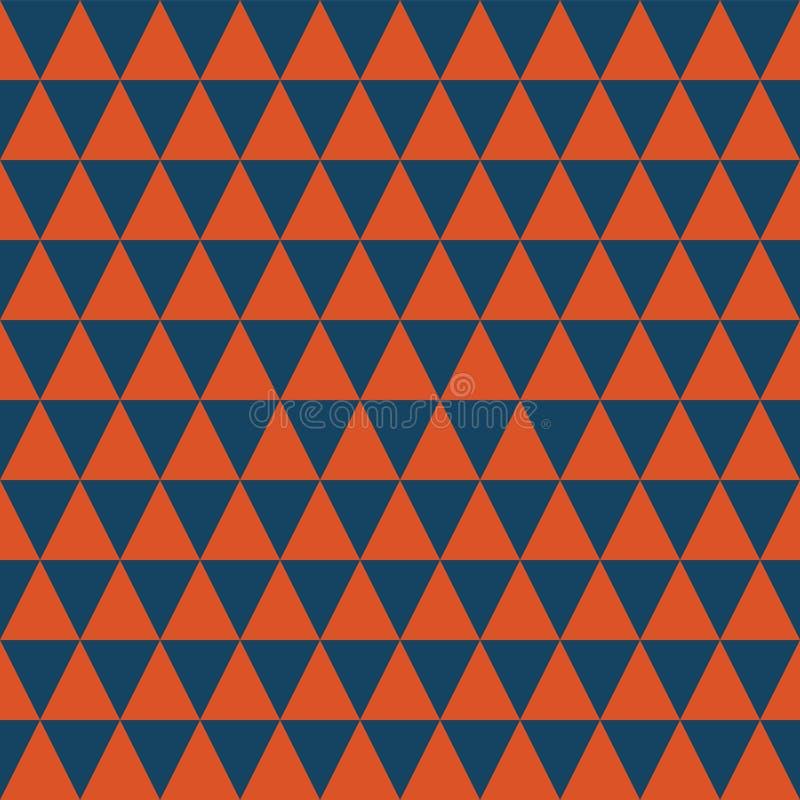 Modello senza cuciture di vettore dei triangoli blu scuro ed arancio Struttura geometrica astratta semplice del fondo illustrazione di stock