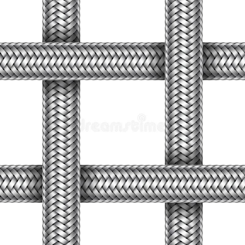 Modello senza cuciture di vettore del cavo intrecciato del metallo illustrazione di stock