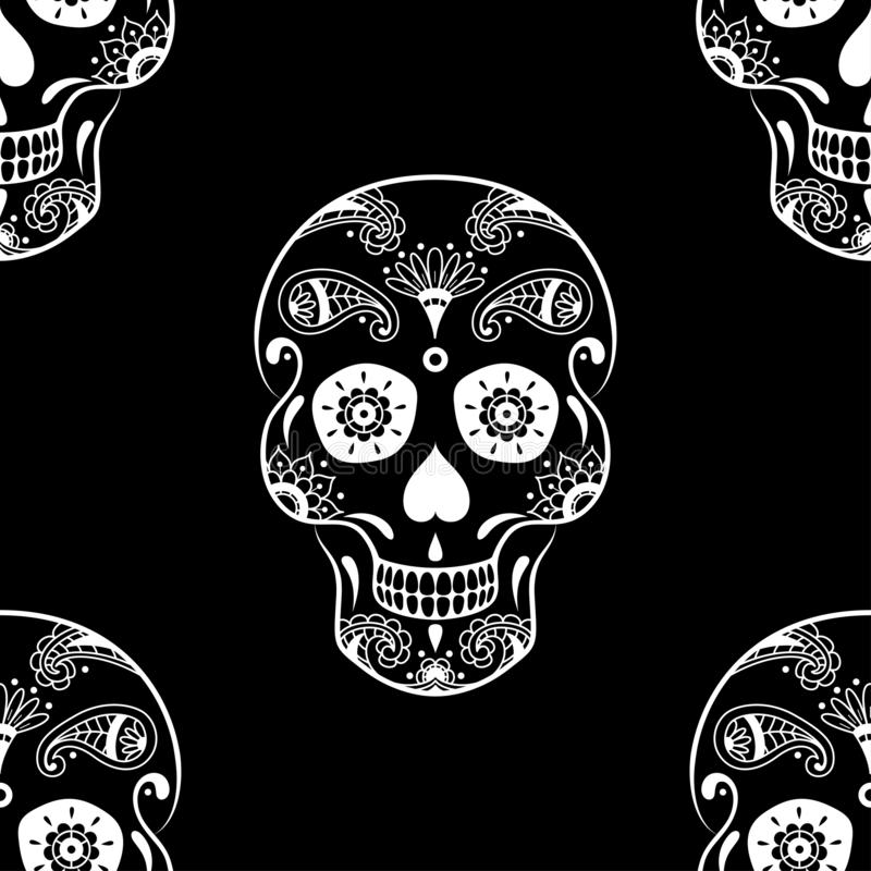 Modello senza cuciture di vettore del cranio dello zucchero bianco con l'ornamento etnico floreale su fondo nero illustrazione di stock