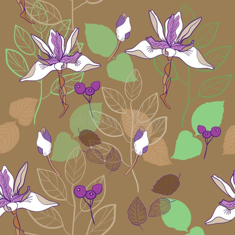 modello senza cuciture di vettore del modello della stampa botanica in marrone caldo e lavanda illustrazione vettoriale
