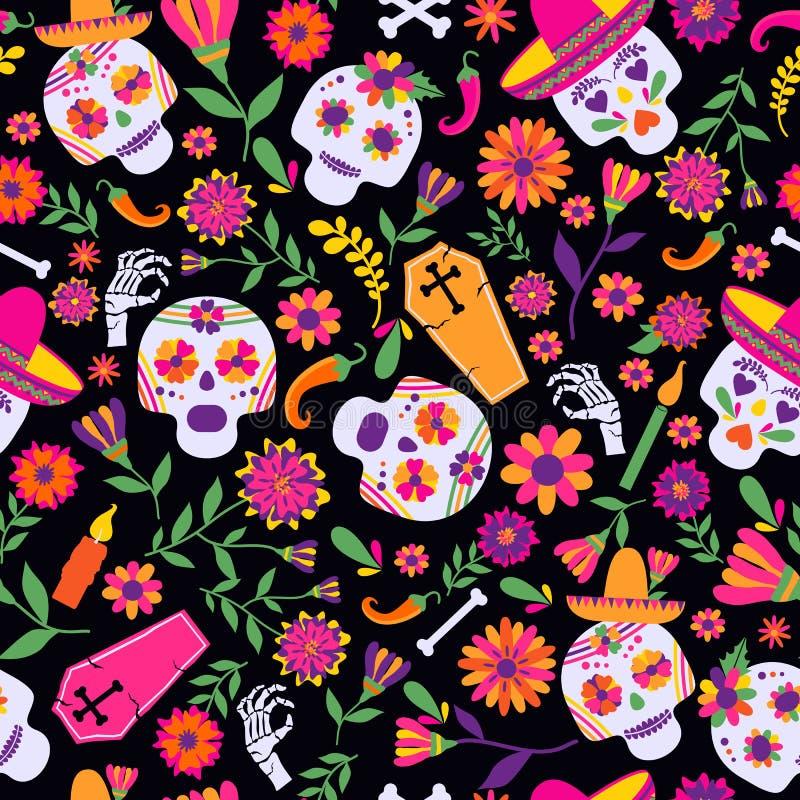 Modello senza cuciture di vettore del diametro de los muertos I simboli principali della festa sui precedenti scuri Giorno dei mo illustrazione vettoriale