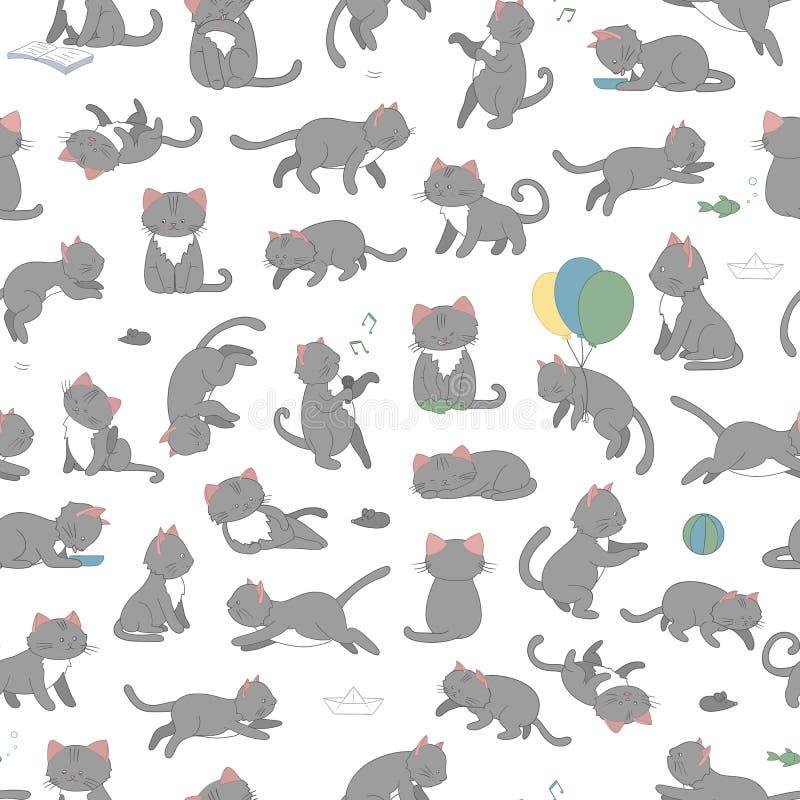 Modello senza cuciture di vettore del gatto sveglio di stile del fumetto nelle pose differenti royalty illustrazione gratis