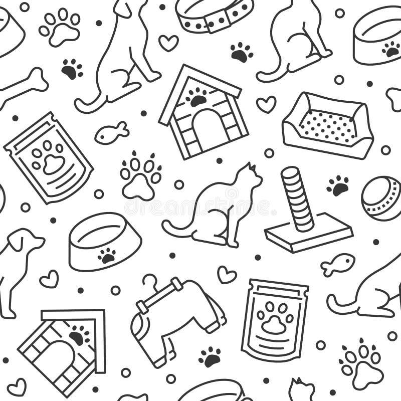 Modello senza cuciture di vettore del negozio di animali con la linea piana icone di casa di cane, cibo per gatti, ciotola dell'a illustrazione di stock