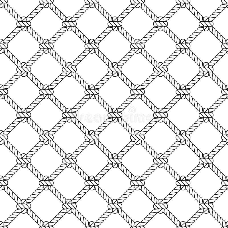 Modello senza cuciture di vettore del nodo marino della corda Progettazione nautica Illustrazione della marina Carta da parati de royalty illustrazione gratis