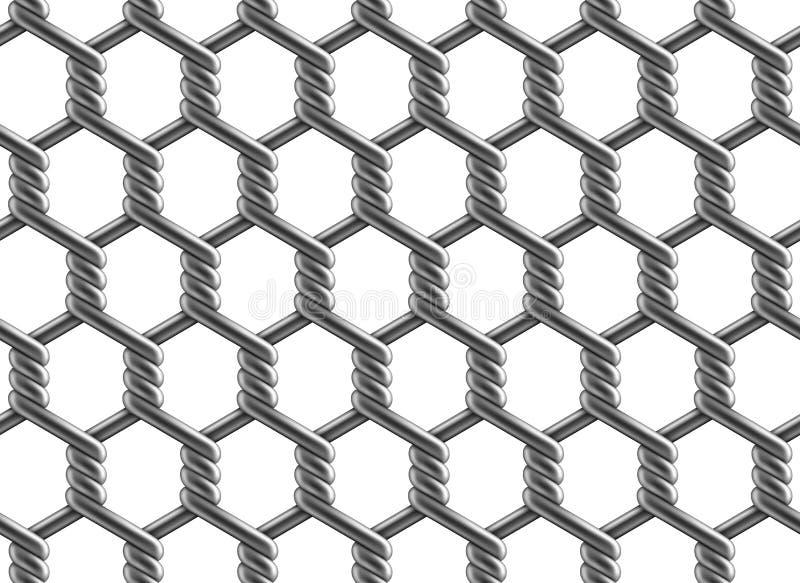 Modello senza cuciture di vettore del recinto di rinforzo esagonale del collegamento a catena royalty illustrazione gratis