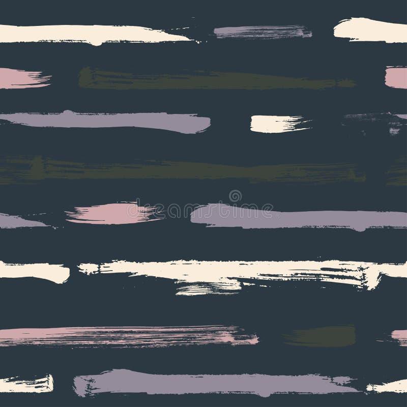 Modello senza cuciture di vettore dell'estratto con le bande dipinte a mano e spruzzare struttura di terrazzo su un fondo blu illustrazione vettoriale