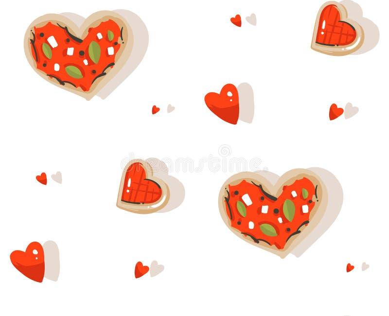 Modello senza cuciture di vettore dell'estratto del fumetto di biglietti di S. Valentino di giorno delle illustrazioni felici mod royalty illustrazione gratis