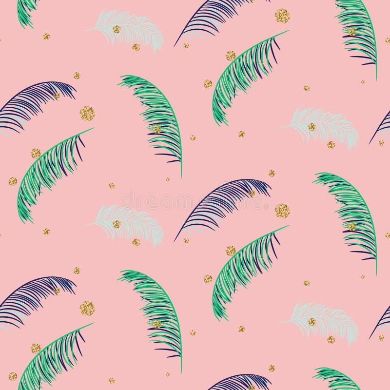 Modello senza cuciture di vettore della banana di rosa verde blu delle foglie di palma royalty illustrazione gratis