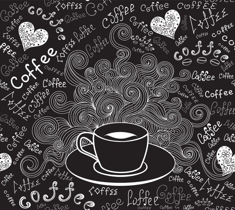 """Modello senza cuciture di vettore della bevanda e dell'alimento con la tazza di caffè e le parole """"caffè """" illustrazione di stock"""