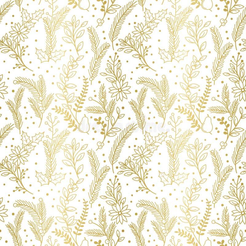 Modello senza cuciture di vettore della festa di Natale della stagnola di oro del Faux floreale illustrazione vettoriale