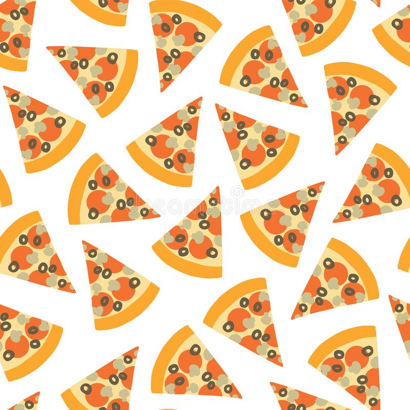 Modello senza cuciture di vettore della fetta della pizza Fondo con la pizza di tiraggio della mano Pizza con le olive, fungo, fo royalty illustrazione gratis