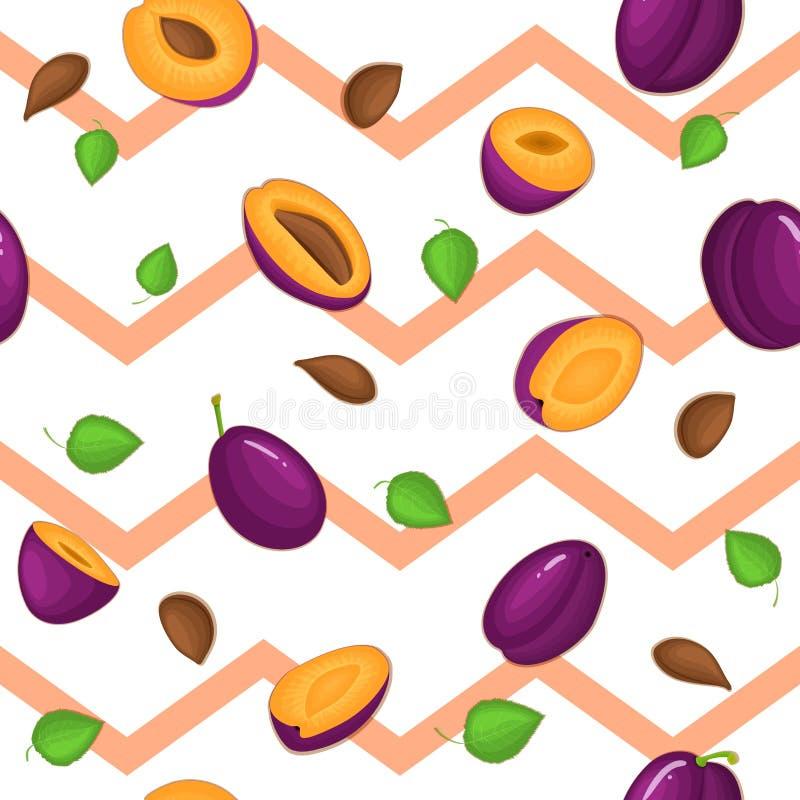 Modello senza cuciture di vettore della frutta matura delle prugne Il fondo a strisce con la prugna succosa deliziosa, intera, fe illustrazione di stock