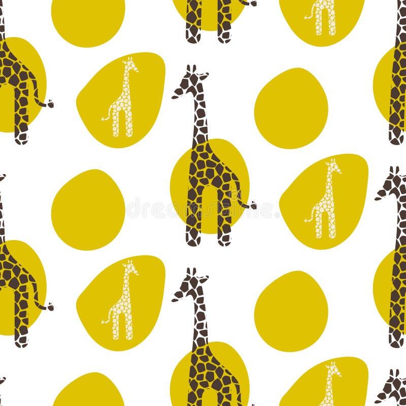 Modello senza cuciture di vettore della giraffa Il verde animale di struttura di safari macchia il fondo royalty illustrazione gratis