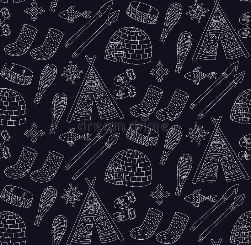 Modello senza cuciture di vettore della neve della cultura delle icone del nord eschimesi di scarabocchio illustrazione vettoriale