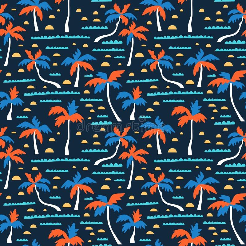Modello senza cuciture di vettore della spiaggia con la sabbia, le palme e le onde Fondo del hawaiano di vettore Progettazione de illustrazione di stock