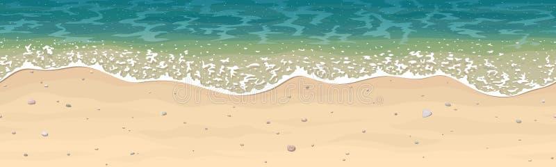 Modello senza cuciture di vettore della spiaggia della sabbia di mare royalty illustrazione gratis