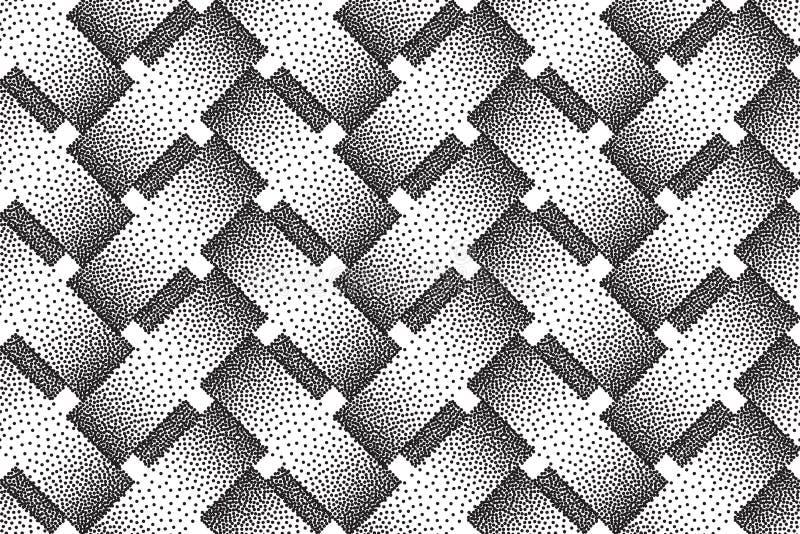 Modello senza cuciture di vettore delle barre d'intreccio Struttura di Stipple illustrazione vettoriale