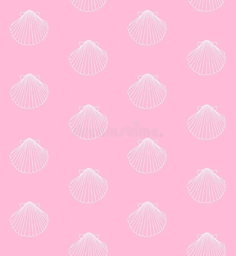 Modello senza cuciture di vettore delle coperture bianche sul rosa illustrazione di stock