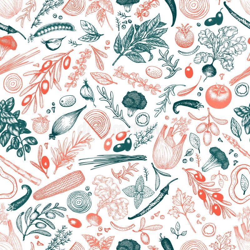 Modello senza cuciture di vettore delle erbe e delle verdure Retro fondo inciso di stile con le olive Illustrazione disegnata a m royalty illustrazione gratis