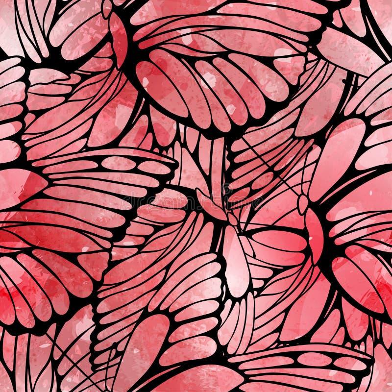 Modello senza cuciture di vettore delle farfalle di volo royalty illustrazione gratis