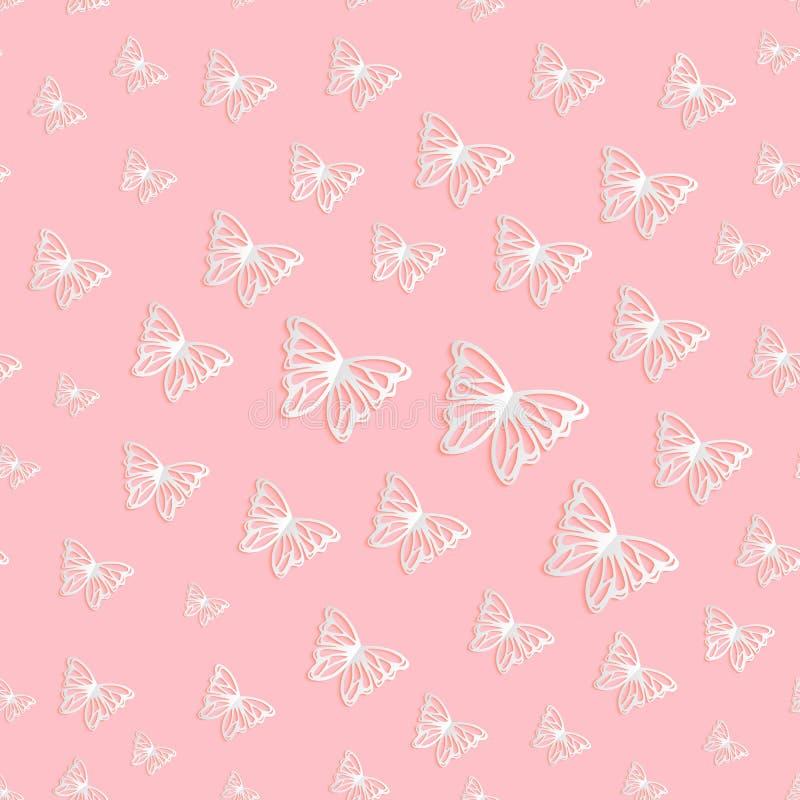 Modello senza cuciture di vettore delle farfalle tagliate di carta illustrazione di stock