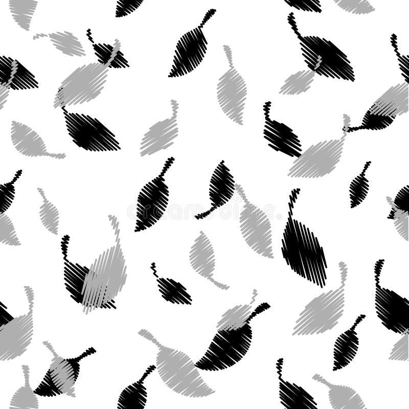 Modello senza cuciture di vettore delle foglie del ricamo Fondo modellato bianco Ripeti il contesto decorativo Foglie della tappe illustrazione vettoriale