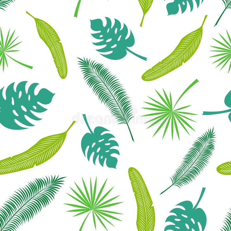 Modello senza cuciture di vettore delle foglie tropicali illustrazione vettoriale
