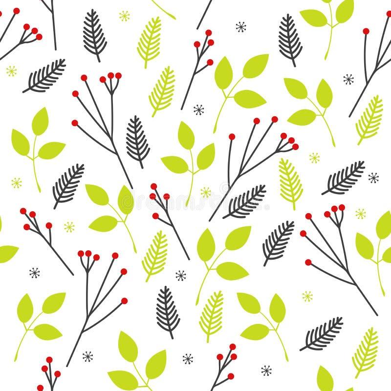 Modello senza cuciture di vettore delle foglie verdi e delle bacche rosse sui rami sulla base bianca Contesto astratto con la nat royalty illustrazione gratis