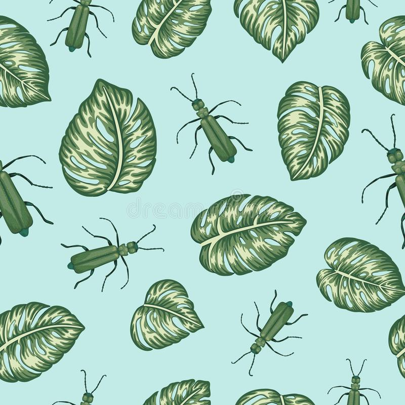 Modello senza cuciture di vettore delle foglie verdi di monsterra con gli insetti tropicali su backgound blu royalty illustrazione gratis