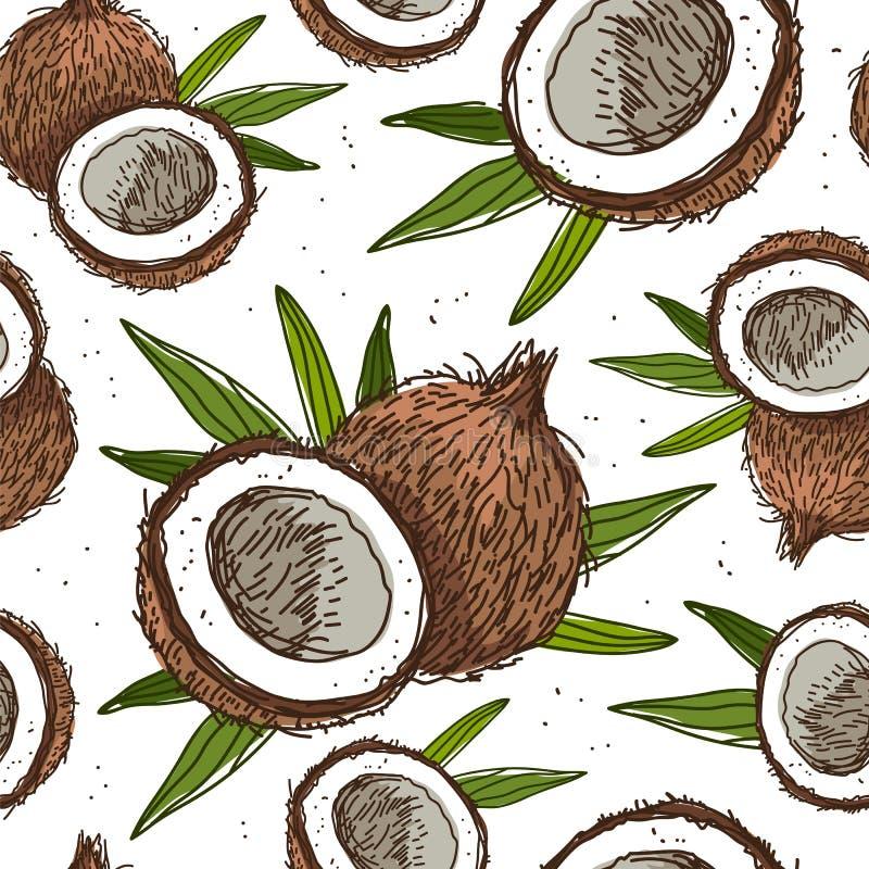 Modello senza cuciture di vettore delle noci di cocco royalty illustrazione gratis