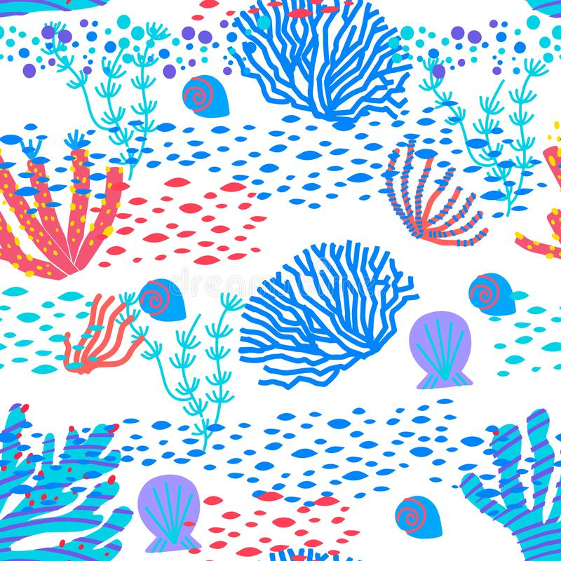 Modello senza cuciture di vettore delle piante subacquee variopinte, dei coralli e degli anemoni della barriera corallina dell'oc royalty illustrazione gratis