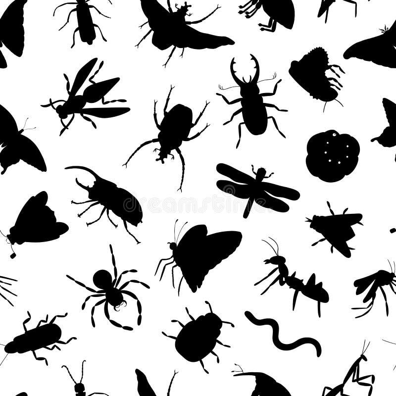 Modello senza cuciture di vettore delle siluette nere dell'insetto isolate su fondo bianco Contesto di tema di ripetizione dell'i illustrazione vettoriale