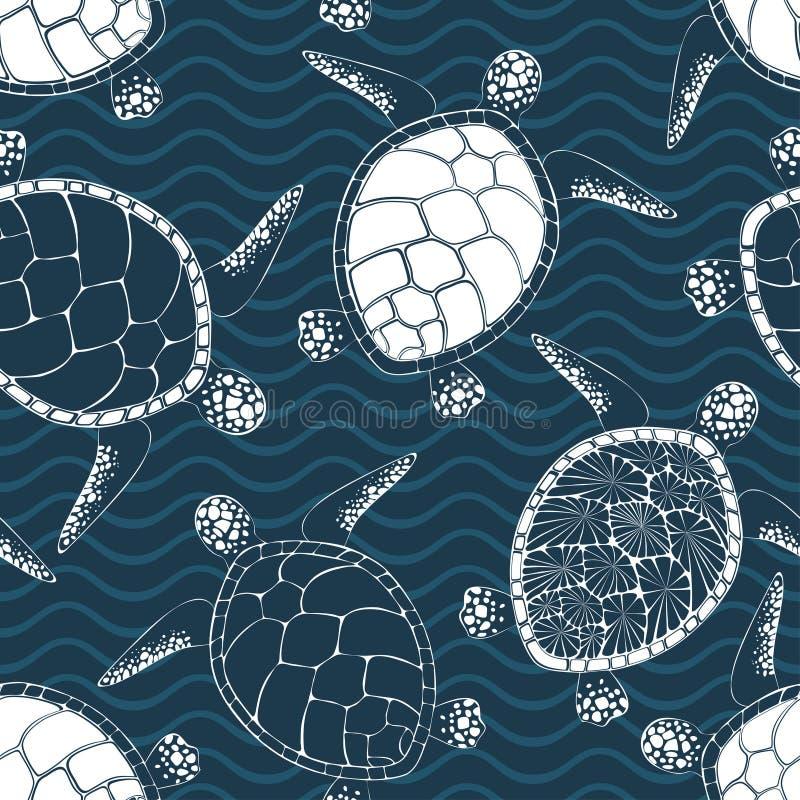Modello senza cuciture di vettore delle tartarughe marine illustrazione di stock