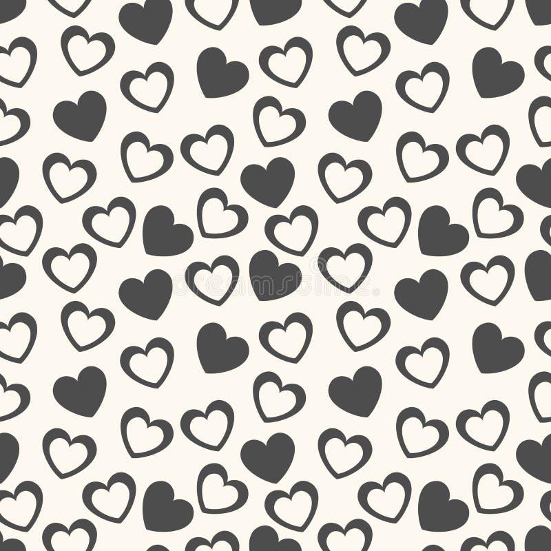 Modello senza cuciture di vettore di forma del cuore Il nero e illustrazione di stock
