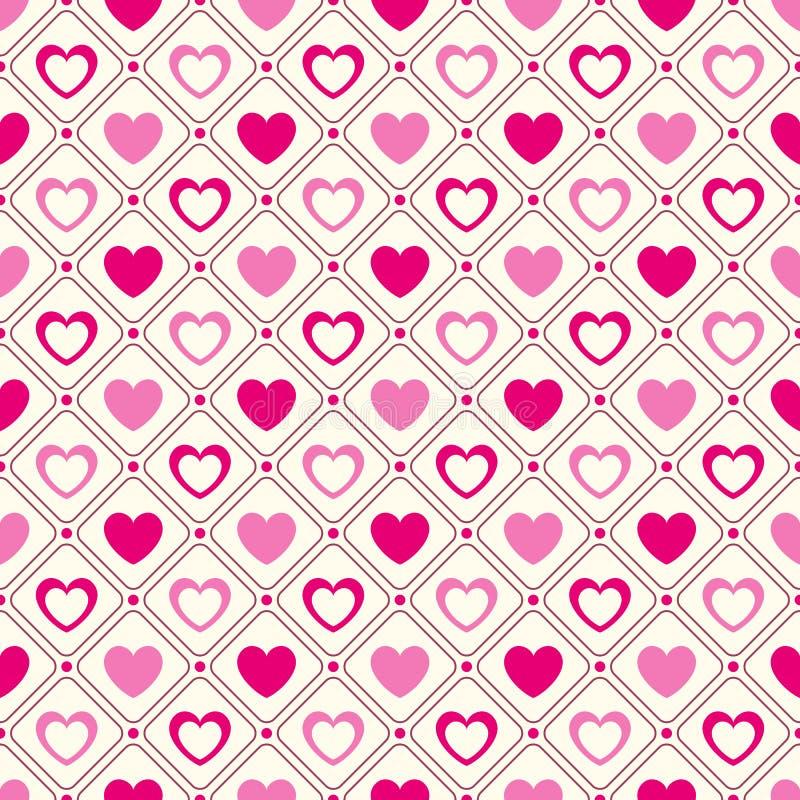 Modello senza cuciture di vettore di forma del cuore Rosa e illustrazione vettoriale