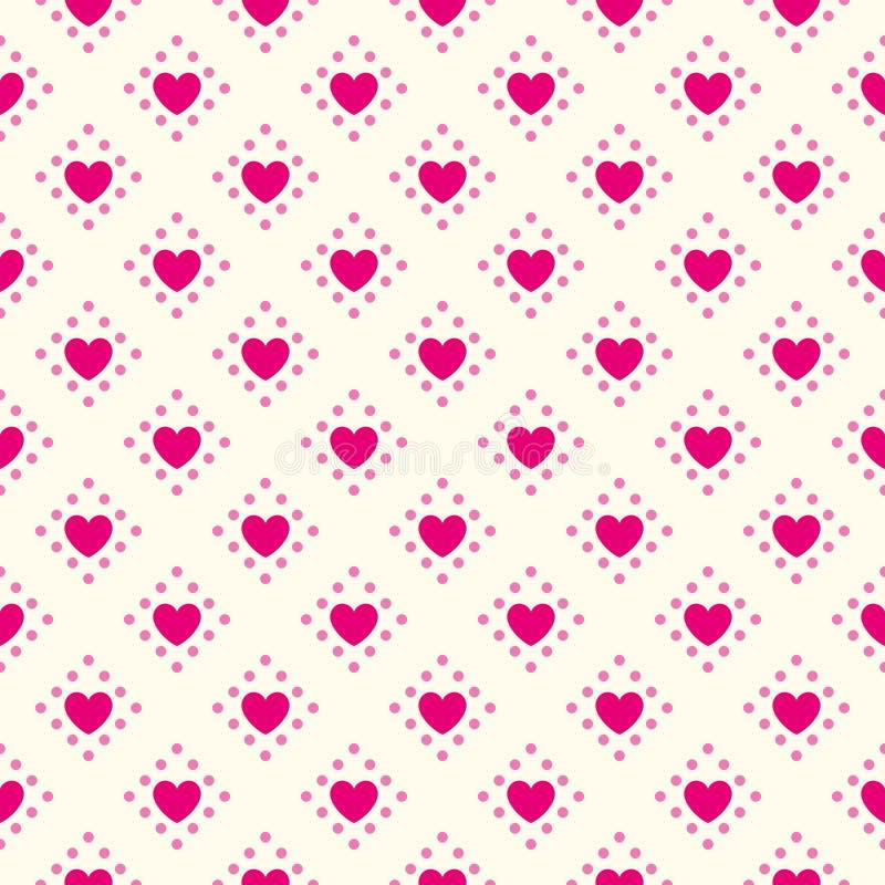 Modello senza cuciture di vettore di forma del cuore Rosa e illustrazione di stock
