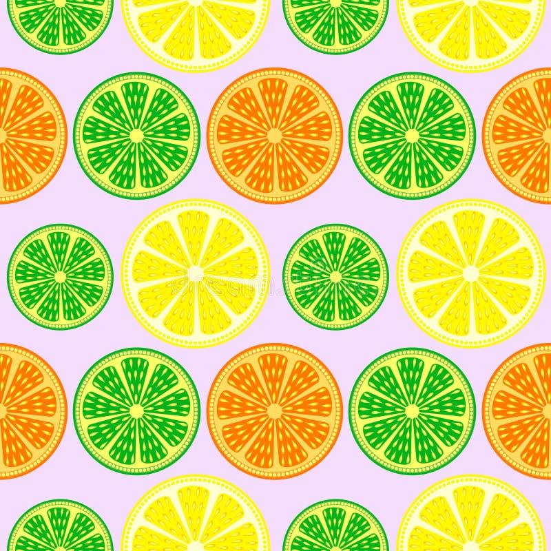 Modello senza cuciture di vettore di frutti, fondo variopinto luminoso con le arance, limoni e limette sopra il contesto leggero royalty illustrazione gratis