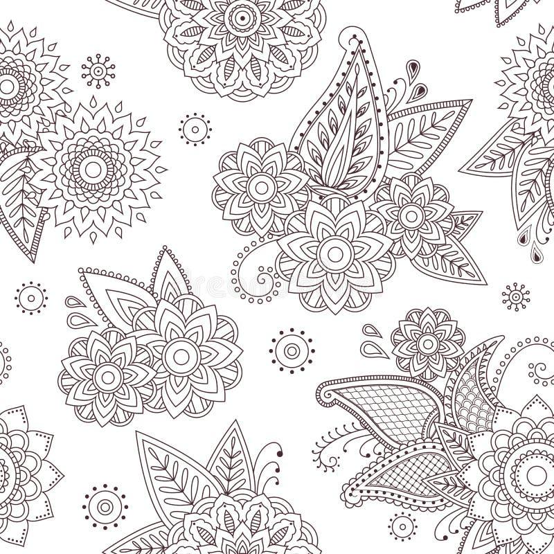 Modello senza cuciture di vettore di scarabocchio del tatuaggio di mehndi di Paisley del hennè royalty illustrazione gratis