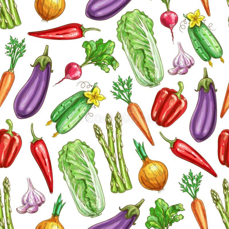 Modello senza cuciture di vettore di schizzo delle verdure royalty illustrazione gratis