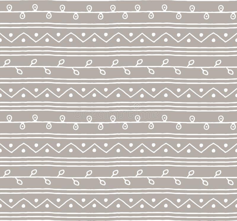 Modello senza cuciture di vettore di schizzo Linee e zigzag dei ramoscelli su fondo grigio Illustrazione africana di stile del ra illustrazione vettoriale