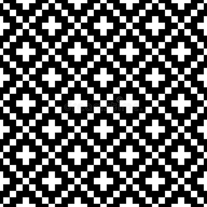 Modello senza cuciture di vettore di stile del pixel Ornamenti neri bianchi su fondo bianco Campione nordico del tessuto di stile illustrazione di stock