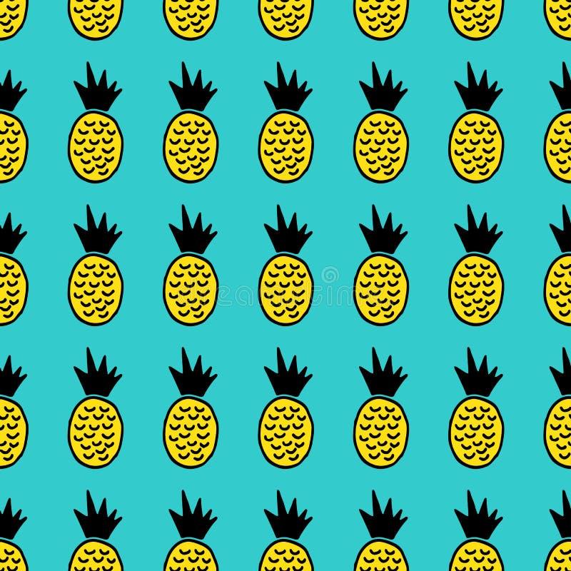 Modello senza cuciture di vettore disegnato a mano dell'ananas royalty illustrazione gratis
