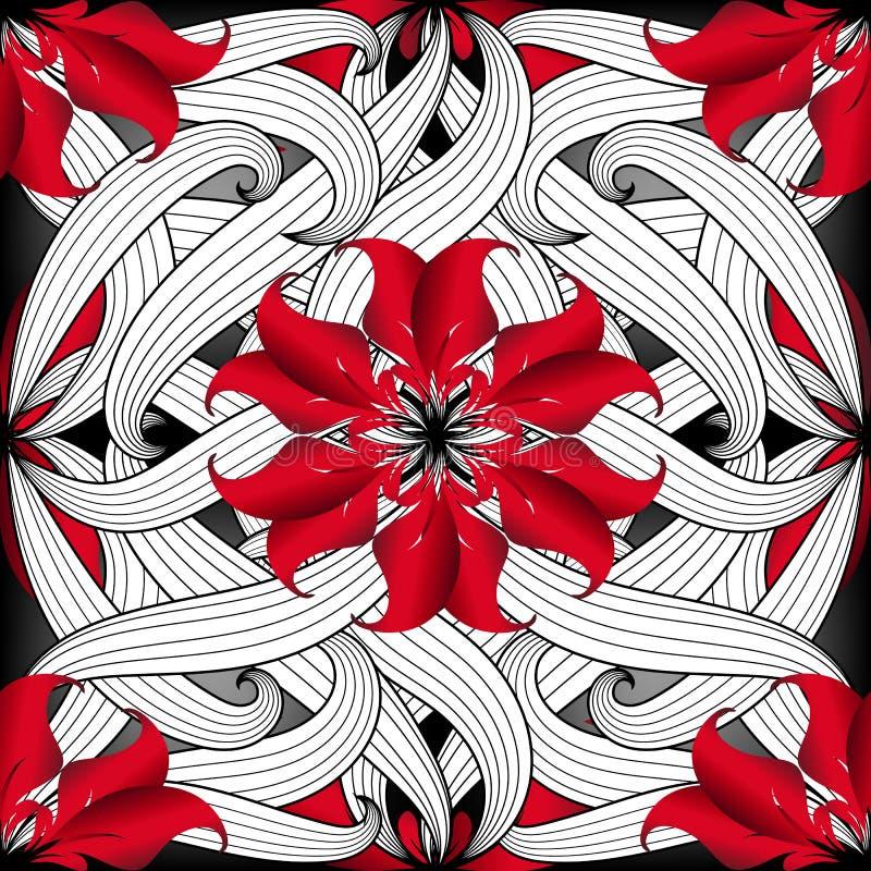 Modello senza cuciture di vettore disegnato a mano floreale complesso ornamentale illustrazione di stock