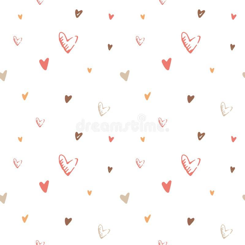 Modello senza cuciture di vettore disegnato a mano di giorno del ` s del biglietto di S. Valentino Fondo adorabile dei cuori rosa royalty illustrazione gratis