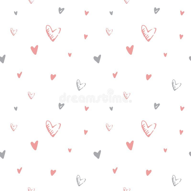 Modello senza cuciture di vettore disegnato a mano di giorno del ` s del biglietto di S. Valentino Fondo adorabile dei cuori rosa illustrazione di stock