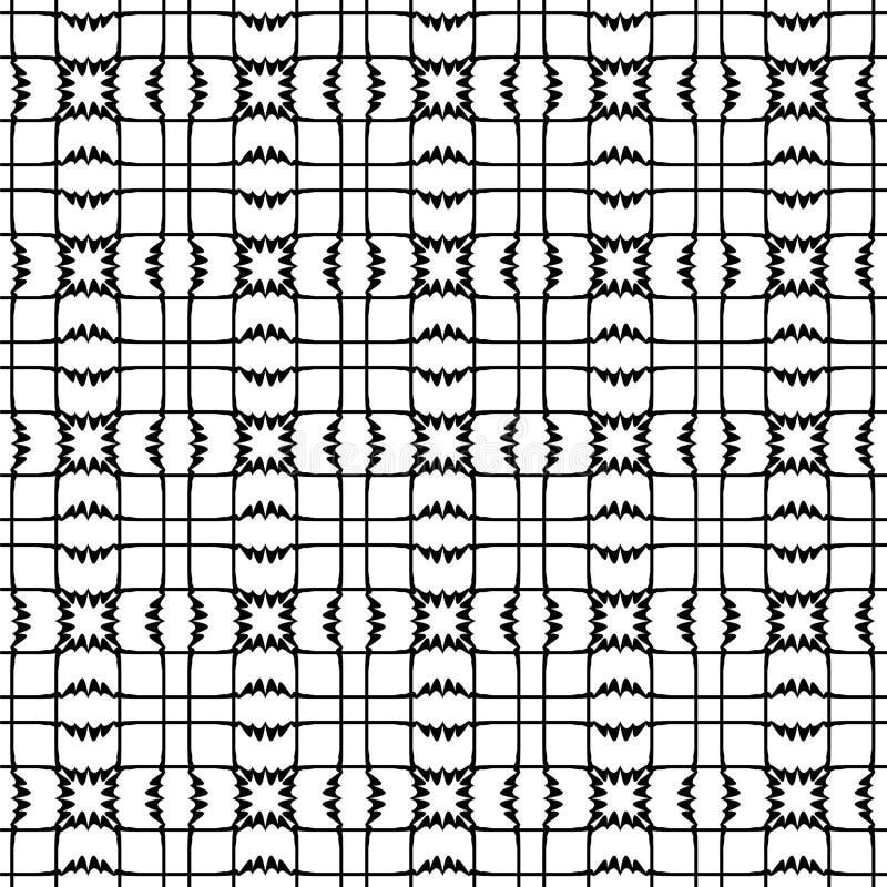 Modello senza cuciture di vettore, figure geometriche in bianco e nero Fondo astratto di monocromio di ripetizione illustrazione di stock